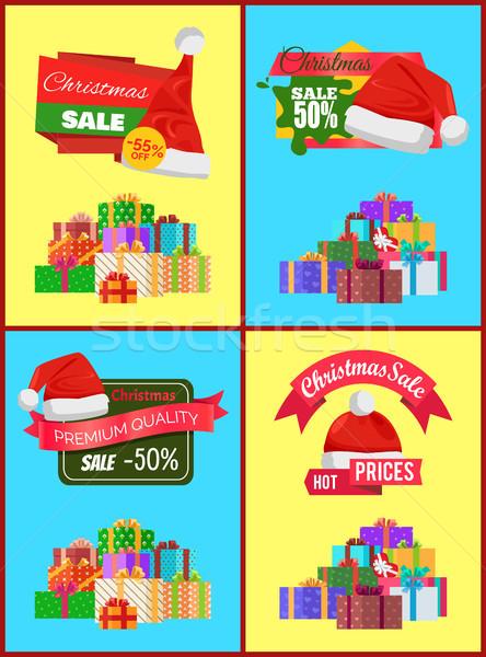 Zestaw christmas sprzedaży promo naklejki Zdjęcia stock © robuart