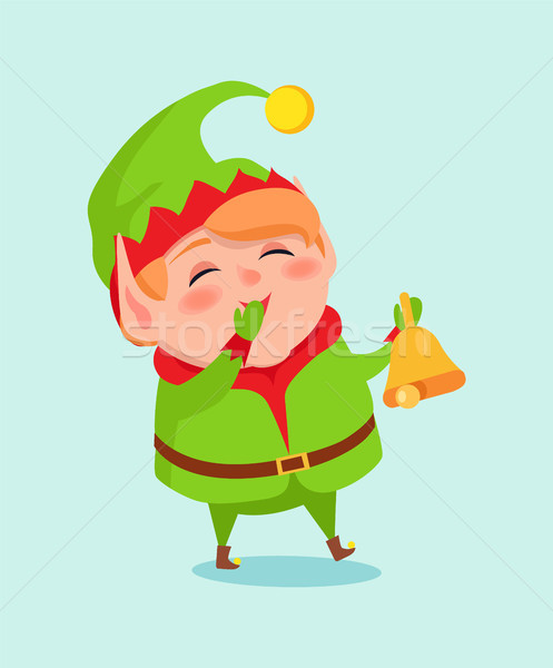 Karikatur elf schließen Mund Hand Fäustlinge Stock foto © robuart