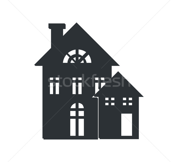 Rural Three Storey Building Black Silhouette Icon Stock photo © robuart