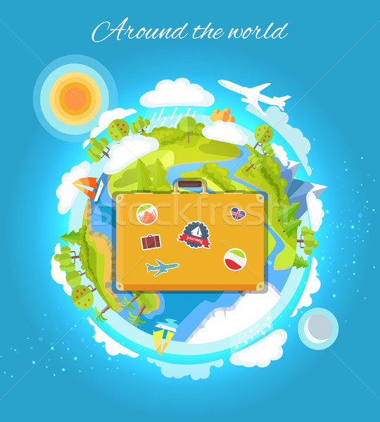 Around the World Color Card Vector Illustration Stock photo © robuart