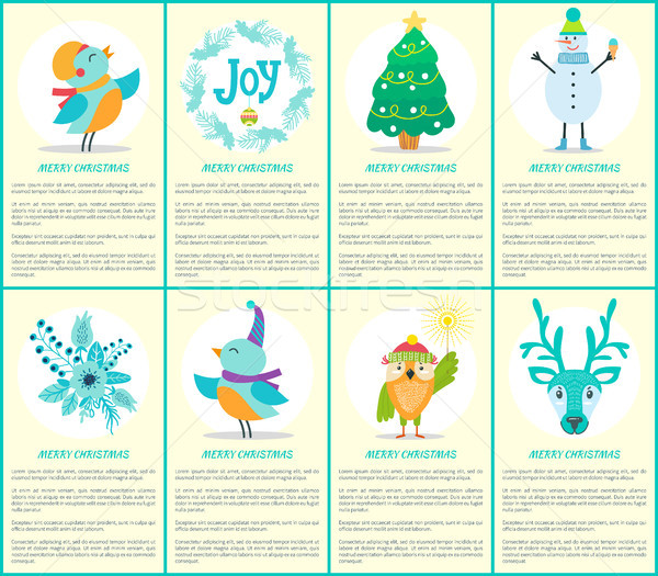 Merry Christmas Placards Text Vector Illustration Stock photo © robuart
