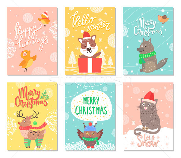 Hello Winter Merry Christmas Vector Illustration Stock photo © robuart