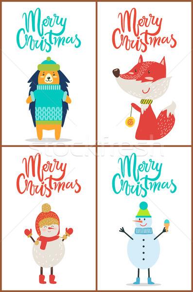 Neşeli Noel hayvanlar ayarlamak kazak Stok fotoğraf © robuart