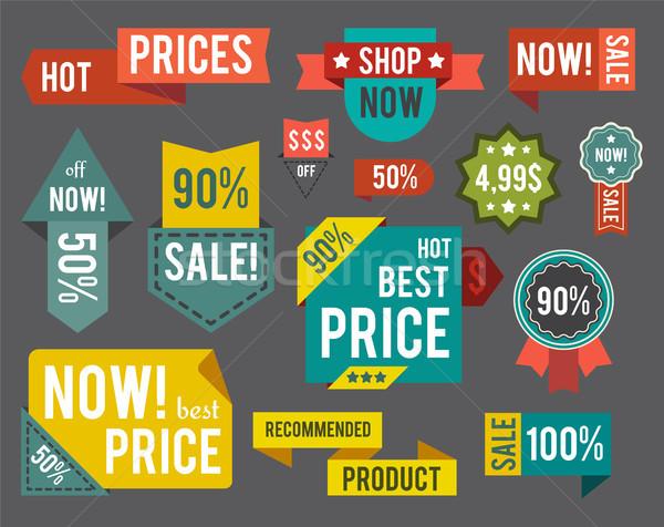 Set of Label, Sticker Titles Vector Illustration Stock photo © robuart