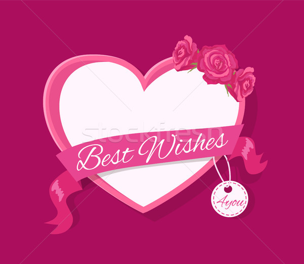 Best Wishes 4 you Greeting Card Design with Heart Stock photo © robuart