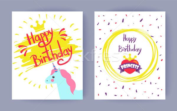 Two Happy Birthday, Princess Vector Illustrations Stock photo © robuart