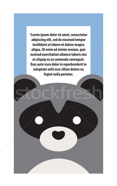 Animal Cover Raccoon and Text Vector Illustration Stock photo © robuart