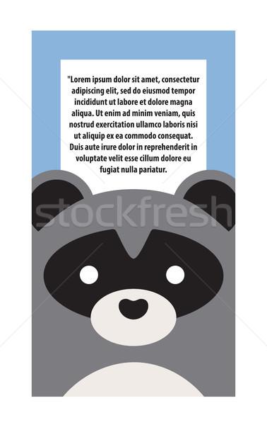 Dier dekken wasbeer tekst grijs zwarte Stockfoto © robuart