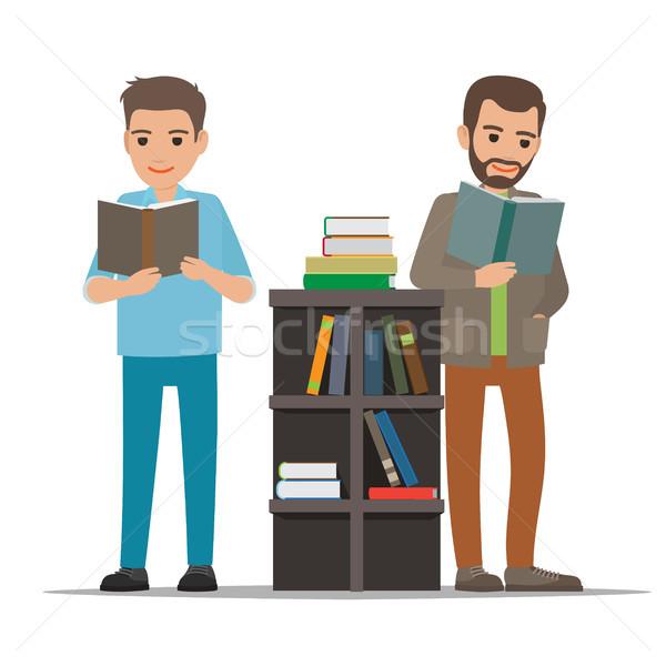 Studentów czytania podręcznik biblioteki wektora ludzi Zdjęcia stock © robuart