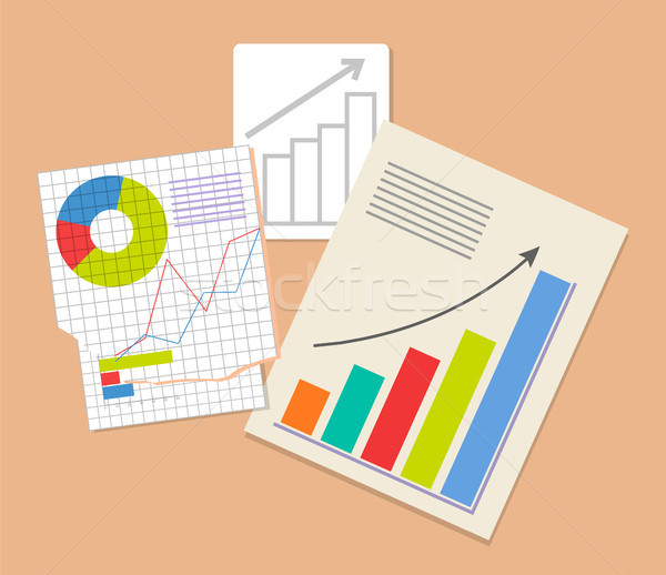 Three Analytics Documents, Colorful Illustration Stock photo © robuart