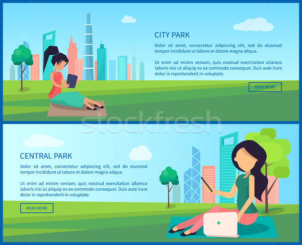 Central ciudad parque Internet banners Foto stock © robuart