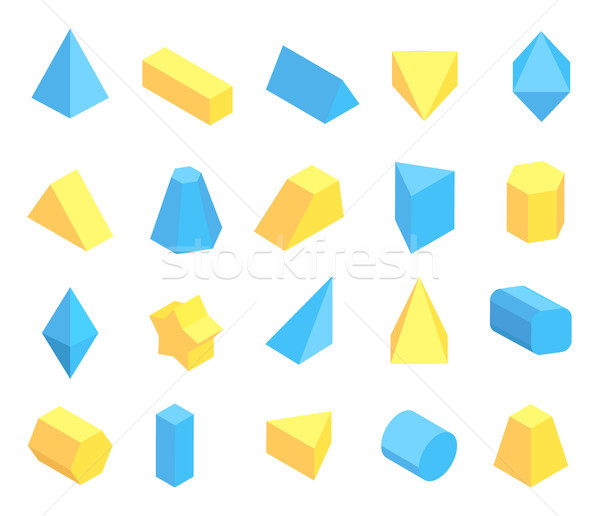 Lot of Blue and Yellow Geometric Figures Poster Stock photo © robuart