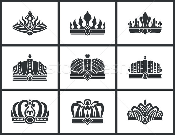 Kings and Queens Monochrome Crowns Icon Collection Stock photo © robuart