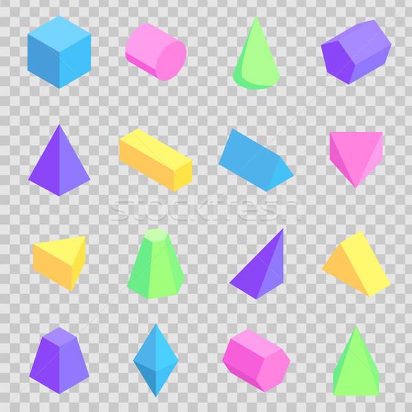 Geometrik 3D toplama renkli ayarlamak Stok fotoğraf © robuart