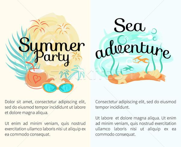 Zomer partij zee avontuur posters Stockfoto © robuart