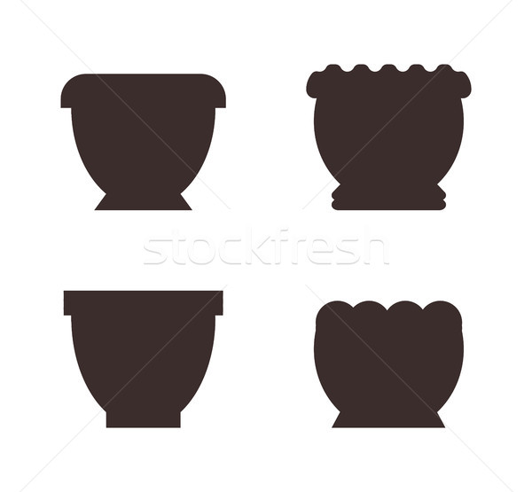 Clay and Plastic Big Pots for Indoor Plants Black Stock photo © robuart