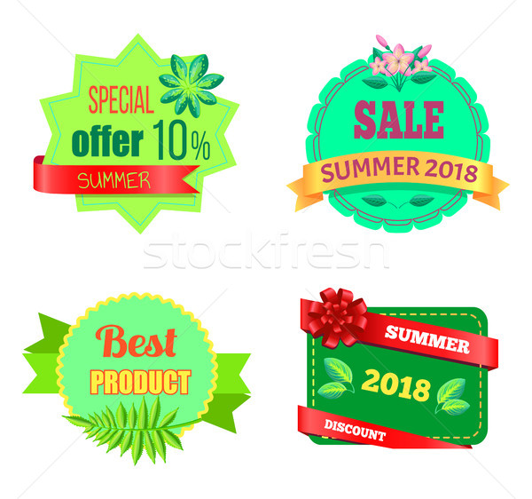 Summer Sale 2018 Emblems Set with Tropical Plants Stock photo © robuart