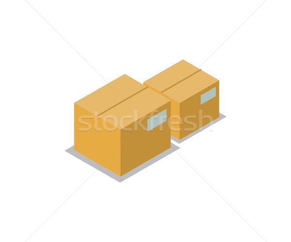 Caixas conjunto produção ícones coleção cartão Foto stock © robuart