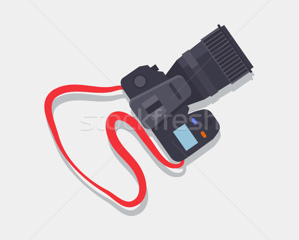 Stockfoto: Camera · icon · Rood · riem · professionele