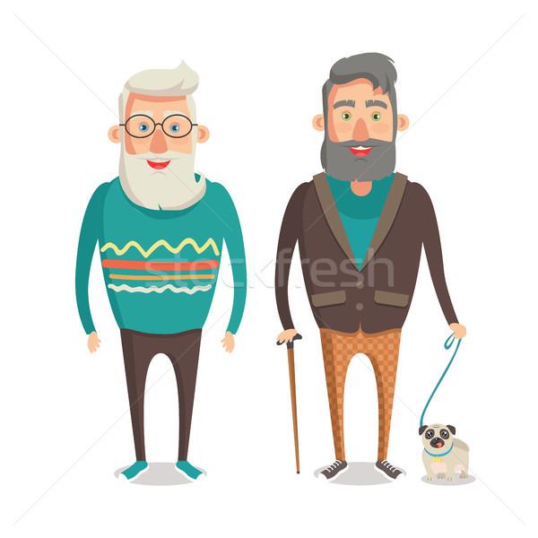 дедушка и бабушка ходьбе набор деда вместе Сток-фото © robuart