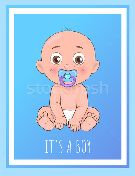 It Boy Poster Newborn Toddler with Pacifier Vector Stock photo © robuart