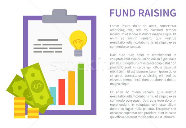 фонд рекламный баннер деньги диаграммы монеты Сток-фото © robuart