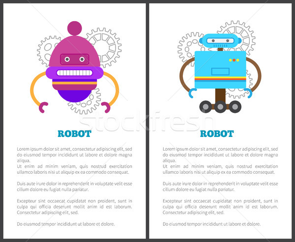 Robot Collection of Posters Vector Illustration Stock photo © robuart
