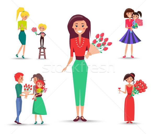 Set of Congratulations Devoted to Mom and Daughter Stock photo © robuart