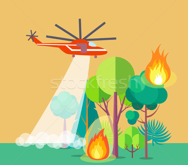 Poster of Helicopter Extinguishing Wildfire Stock photo © robuart