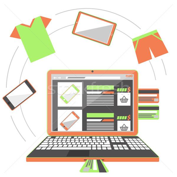 Internetes vásárlás monitor laptop bevásárlószatyor kosár képernyő Stock fotó © robuart