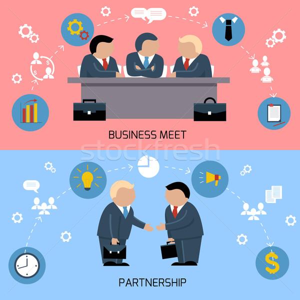 Concept of business meeting, teamwork, partnership Foto stock © robuart
