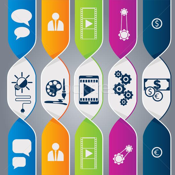 ストックフォト: 現代 · スパイラル · インフォグラフィック · オプション · バナー · デザイン