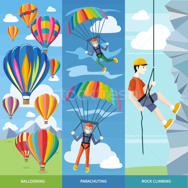 Stock photo: Parachuting, Ballooning and Rock Climbing