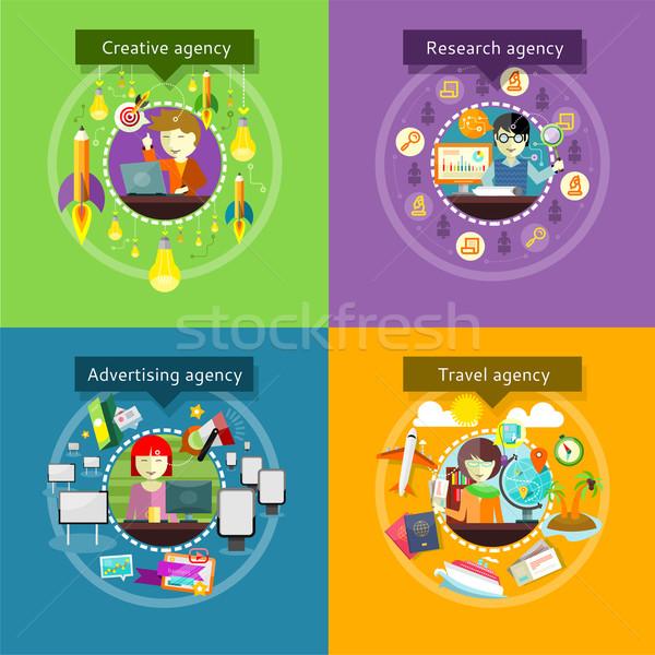Kreatív hirdetés ügynökség kutatás utazás fejlesztés Stock fotó © robuart
