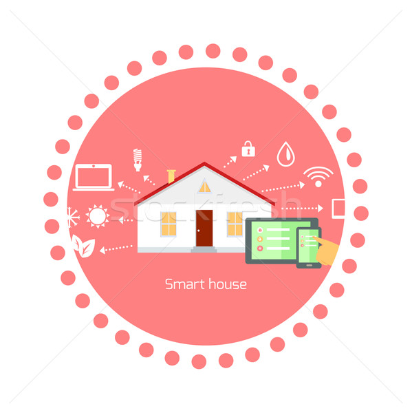 Smart House Concept Icon Flat Design Stock photo © robuart