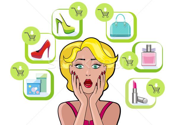 ストックフォト: 女性 · 吹き出し · 販売 · デザイン · ショッピング · コミック
