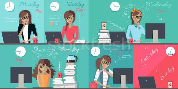 Woman Plan Work Week Design Flat Stock photo © robuart
