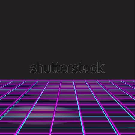 Retro-stijl disco ontwerp neon 80s partij Stockfoto © robuart
