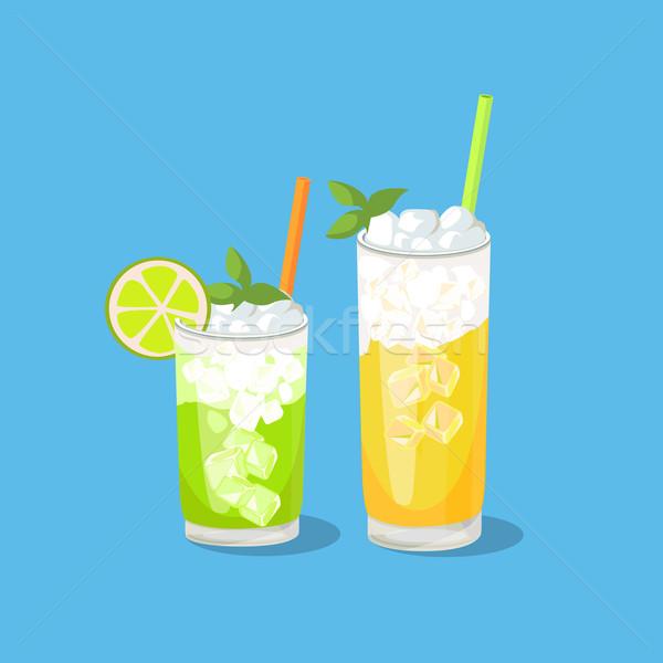 Koud alcohol ander dranken geïsoleerd cocktail Stockfoto © robuart