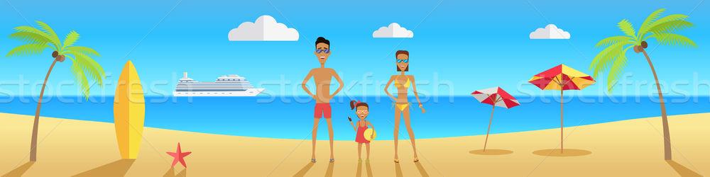 Gelukkig gezin strand vader moeder dochter Stockfoto © robuart