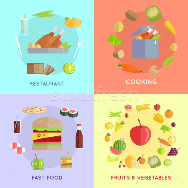 Set of Food Vector Concepts Illustration.  Stock photo © robuart