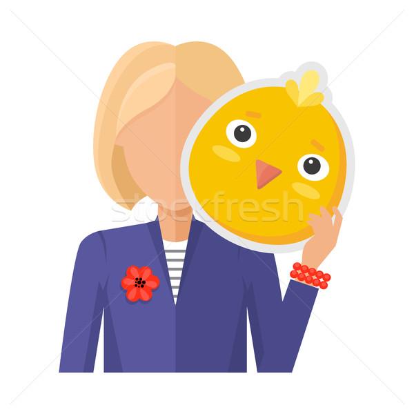 Kadın tavuk maske dizayn vektör sarışın kadın Stok fotoğraf © robuart