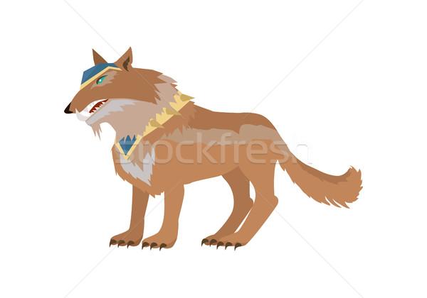 Fantastyczny wilk projektu bitwa jazda konna wektora Zdjęcia stock © robuart