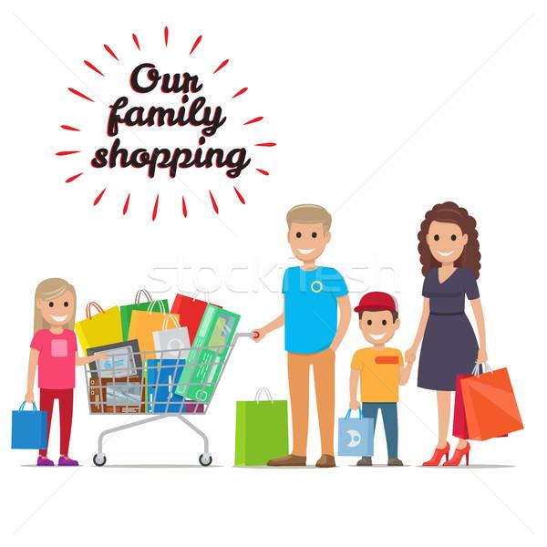 Aile alışveriş vektör tatil memnun Stok fotoğraf © robuart