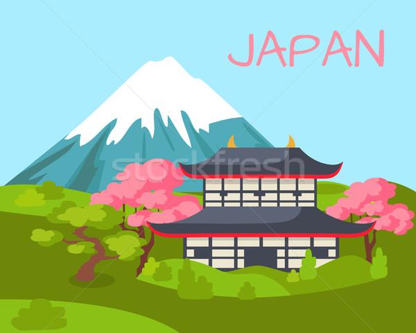 Japan asian gebouw bloei sakura Stockfoto © robuart
