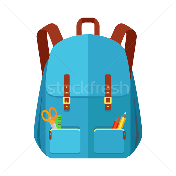 Blue Backpack Schoolbag Icon in Flat Style Stock photo © robuart