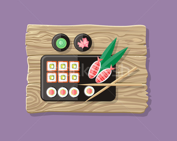 Japanese Food Illustration web Banner. Japan Sushi Stock photo © robuart
