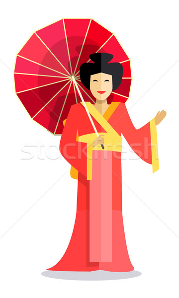 Isolated Chinese Woman with Red Umbrella in Hand Stock photo © robuart