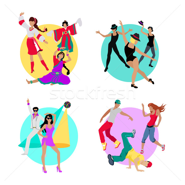 Set Folk, Jazz, Disco or Electric and Street Dance Stock photo © robuart