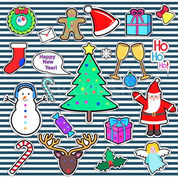 Zdjęcia stock: Zestaw · szczęśliwego · nowego · roku · wesoły · christmas · elementy · ikona